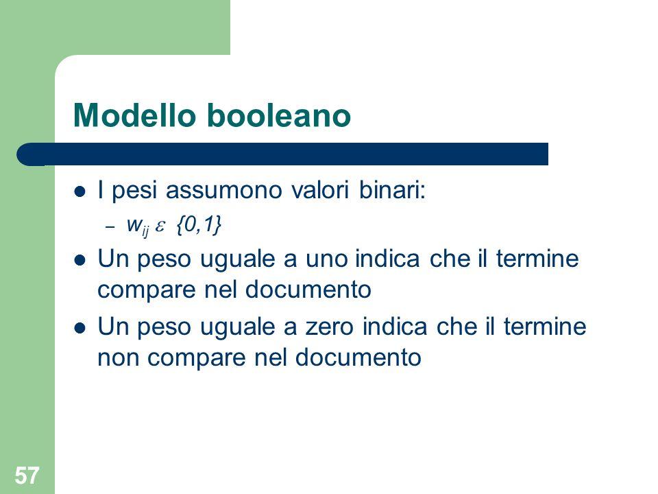 57 I pesi assumono valori binari: – w ij {0,1} Un peso uguale a uno indica che il termine compare nel documento Un peso uguale a zero indica che il termine non compare nel documento Modello booleano