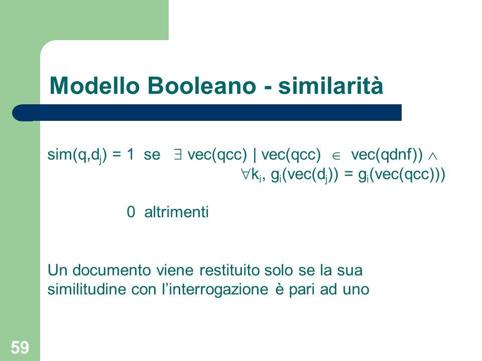 59 sim(q,d j ) = 1 se vec(qcc) | vec(qcc) vec(qdnf)) k i, g i (vec(d j )) = g i (vec(qcc))) 0 altrimenti Un documento viene restituito solo se la sua similitudine con linterrogazione è pari ad uno Modello Booleano - similarità