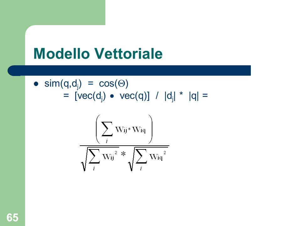 65 sim(q,d j ) = cos( ) = [vec(d j ) vec(q)] / |d j | * |q| = Modello Vettoriale