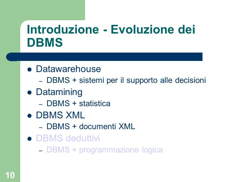 10 Introduzione - Evoluzione dei DBMS Datawarehouse – DBMS + sistemi per il supporto alle decisioni Datamining – DBMS + statistica DBMS XML – DBMS + d