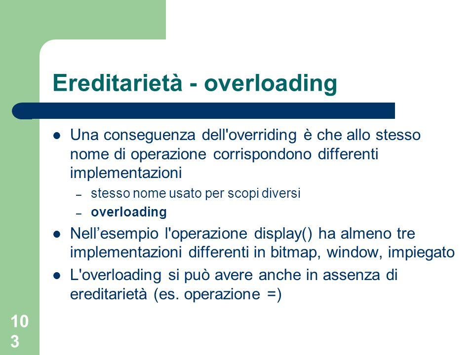 103 Ereditarietà - overloading Una conseguenza dell'overriding è che allo stesso nome di operazione corrispondono differenti implementazioni – stesso