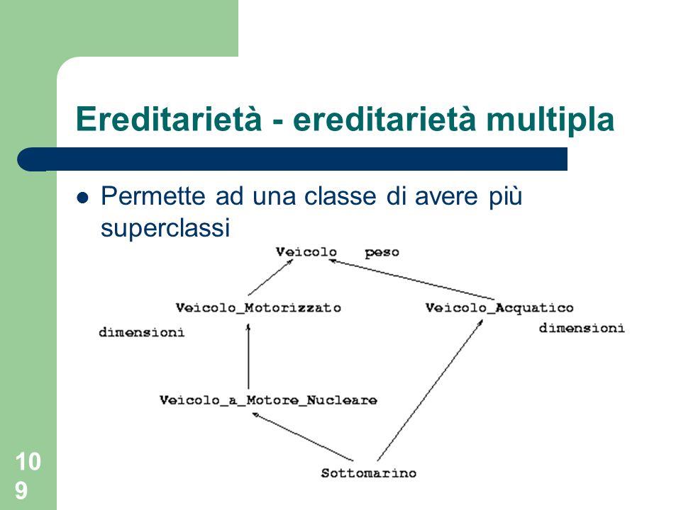 109 Ereditarietà - ereditarietà multipla Permette ad una classe di avere più superclassi