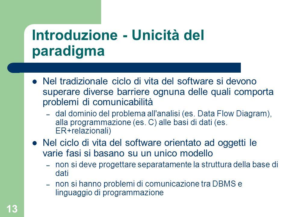 13 Introduzione - Unicità del paradigma Nel tradizionale ciclo di vita del software si devono superare diverse barriere ognuna delle quali comporta pr