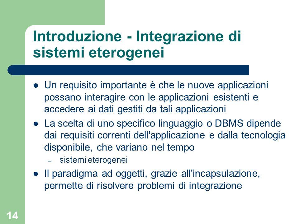 14 Introduzione - Integrazione di sistemi eterogenei Un requisito importante è che le nuove applicazioni possano interagire con le applicazioni esiste
