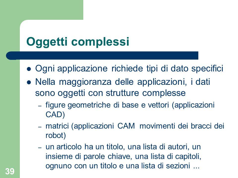 39 Oggetti complessi Ogni applicazione richiede tipi di dato specifici Nella maggioranza delle applicazioni, i dati sono oggetti con strutture comples