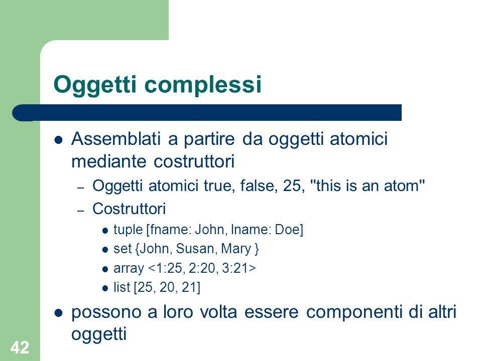 42 Oggetti complessi Assemblati a partire da oggetti atomici mediante costruttori – Oggetti atomici true, false, 25, ''this is an atom'' – Costruttori