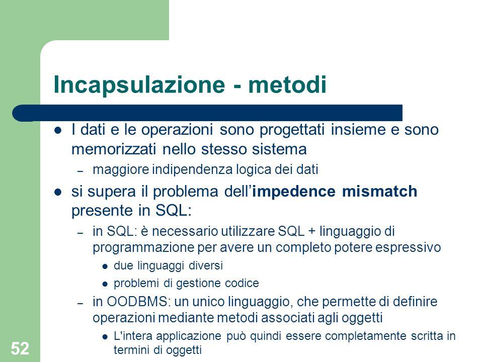 52 Incapsulazione - metodi I dati e le operazioni sono progettati insieme e sono memorizzati nello stesso sistema – maggiore indipendenza logica dei d