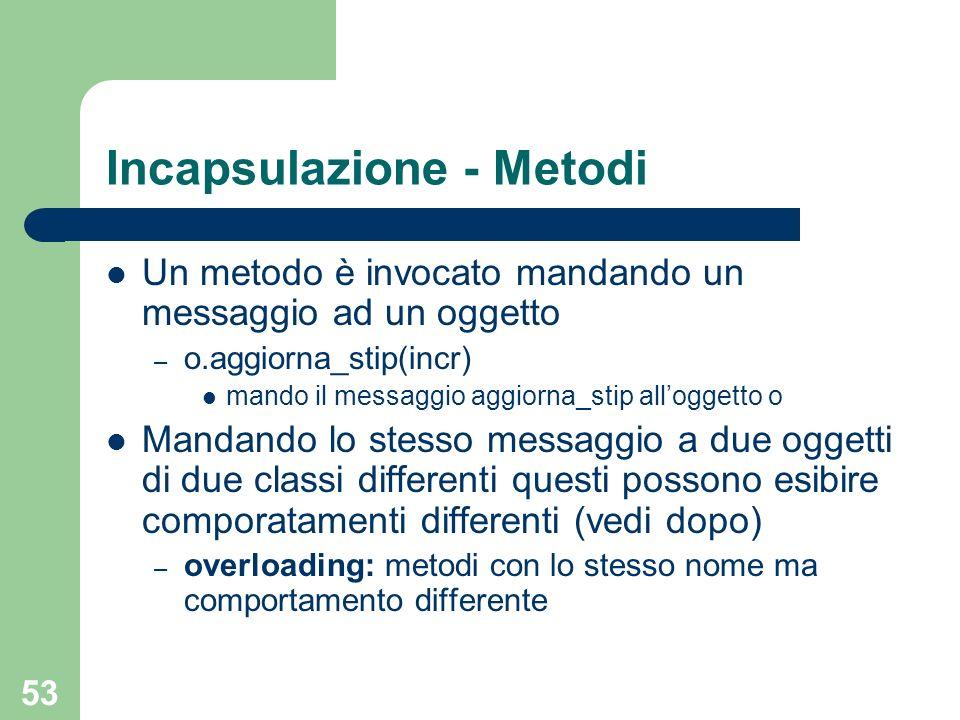 53 Incapsulazione - Metodi Un metodo è invocato mandando un messaggio ad un oggetto – o.aggiorna_stip(incr) mando il messaggio aggiorna_stip alloggett