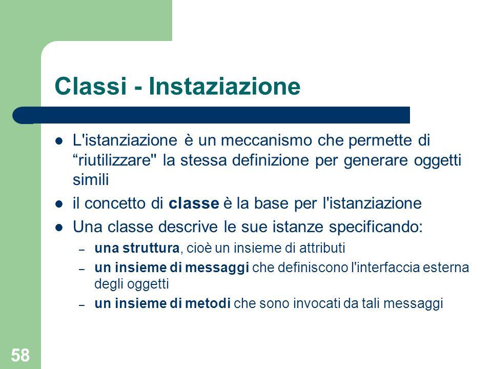 58 Classi - Instaziazione L'istanziazione è un meccanismo che permette di riutilizzare'' la stessa definizione per generare oggetti simili il concetto