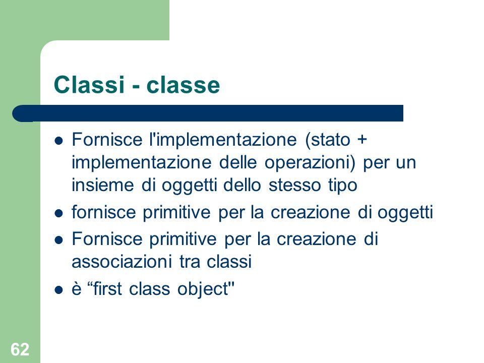 62 Classi - classe Fornisce l'implementazione (stato + implementazione delle operazioni) per un insieme di oggetti dello stesso tipo fornisce primitiv