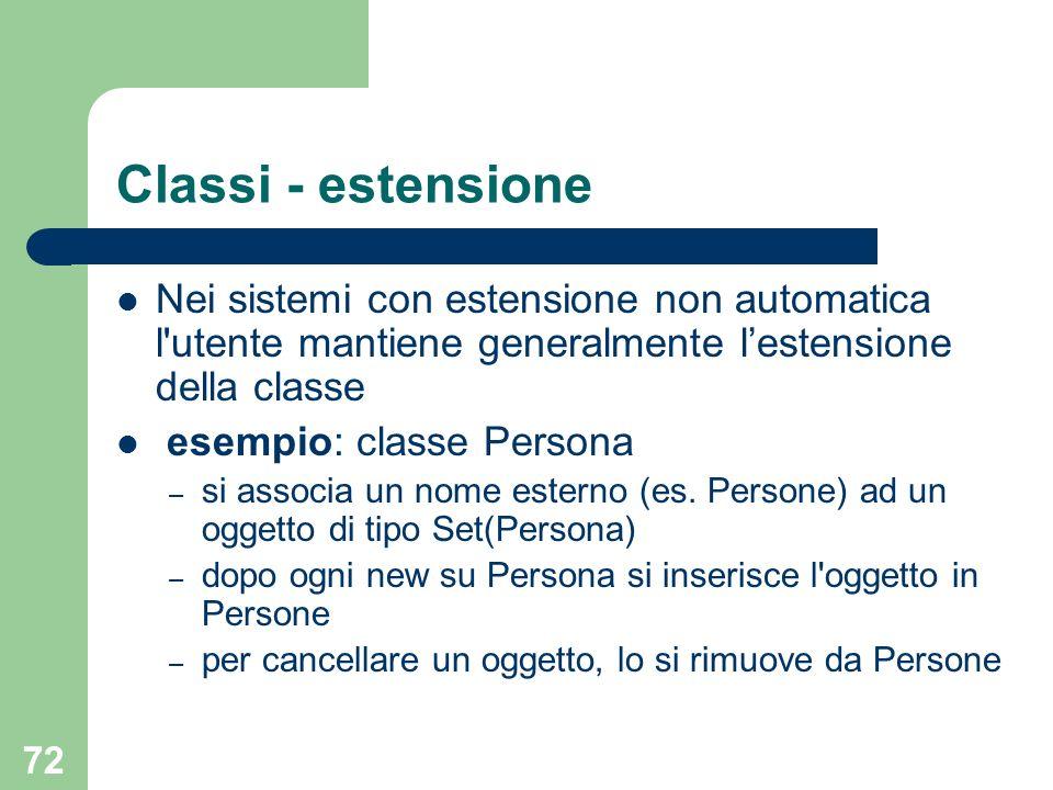 72 Classi - estensione Nei sistemi con estensione non automatica l'utente mantiene generalmente lestensione della classe esempio: classe Persona – si