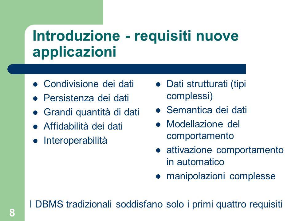 9 Introduzione - Evoluzione dei DBMS DBMS orientati ad oggetti – DBMS + programmazione orientata ad oggetti DBMS relazionali estesi o relazionali ad oggetti – DBMS relazionali estesi con concetti ad oggetti DBMS attivi – DMBS + comportamento reattivo AI