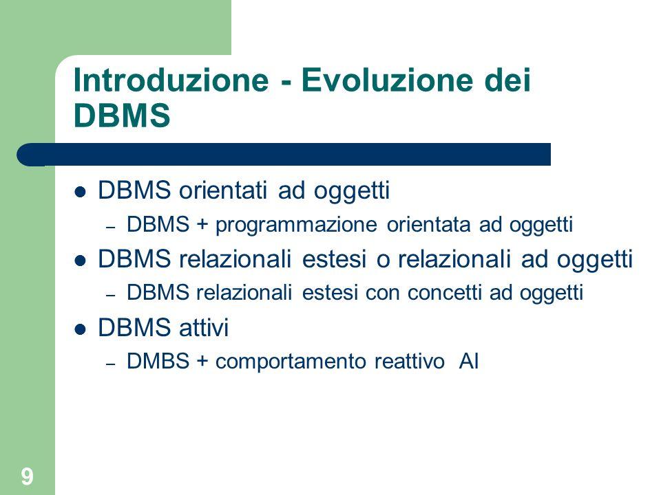 9 Introduzione - Evoluzione dei DBMS DBMS orientati ad oggetti – DBMS + programmazione orientata ad oggetti DBMS relazionali estesi o relazionali ad o