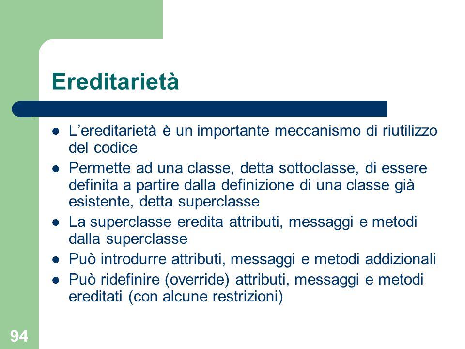 94 Ereditarietà Lereditarietà è un importante meccanismo di riutilizzo del codice Permette ad una classe, detta sottoclasse, di essere definita a part
