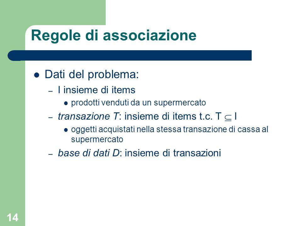 14 Regole di associazione Dati del problema: – I insieme di items prodotti venduti da un supermercato – transazione T: insieme di items t.c. T I ogget