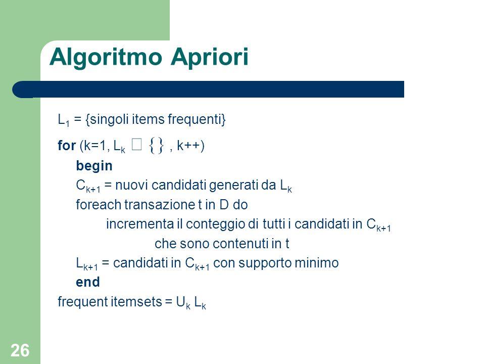 26 Algoritmo Apriori L 1 = {singoli items frequenti} for (k=1, L k, k++) begin C k+1 = nuovi candidati generati da L k foreach transazione t in D do i