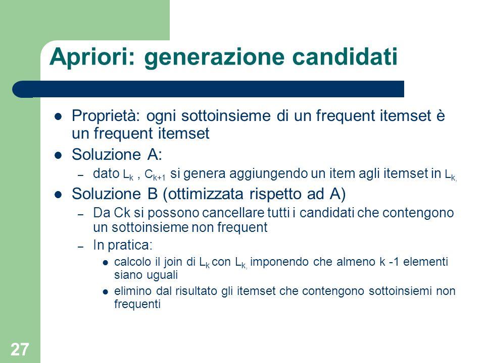 27 Apriori: generazione candidati Proprietà: ogni sottoinsieme di un frequent itemset è un frequent itemset Soluzione A: – dato L k, C k+1 si genera a