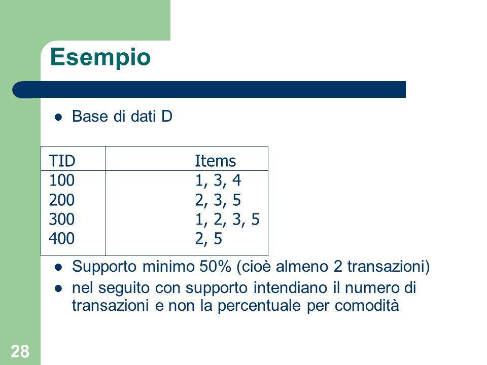 28 Esempio Base di dati D Supporto minimo 50% (cioè almeno 2 transazioni) nel seguito con supporto intendiano il numero di transazioni e non la percen