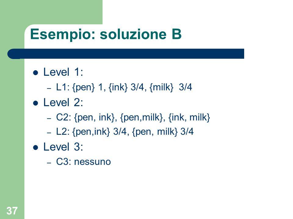37 Esempio: soluzione B Level 1: – L1: {pen} 1, {ink} 3/4, {milk} 3/4 Level 2: – C2: {pen, ink}, {pen,milk}, {ink, milk} – L2: {pen,ink} 3/4, {pen, mi