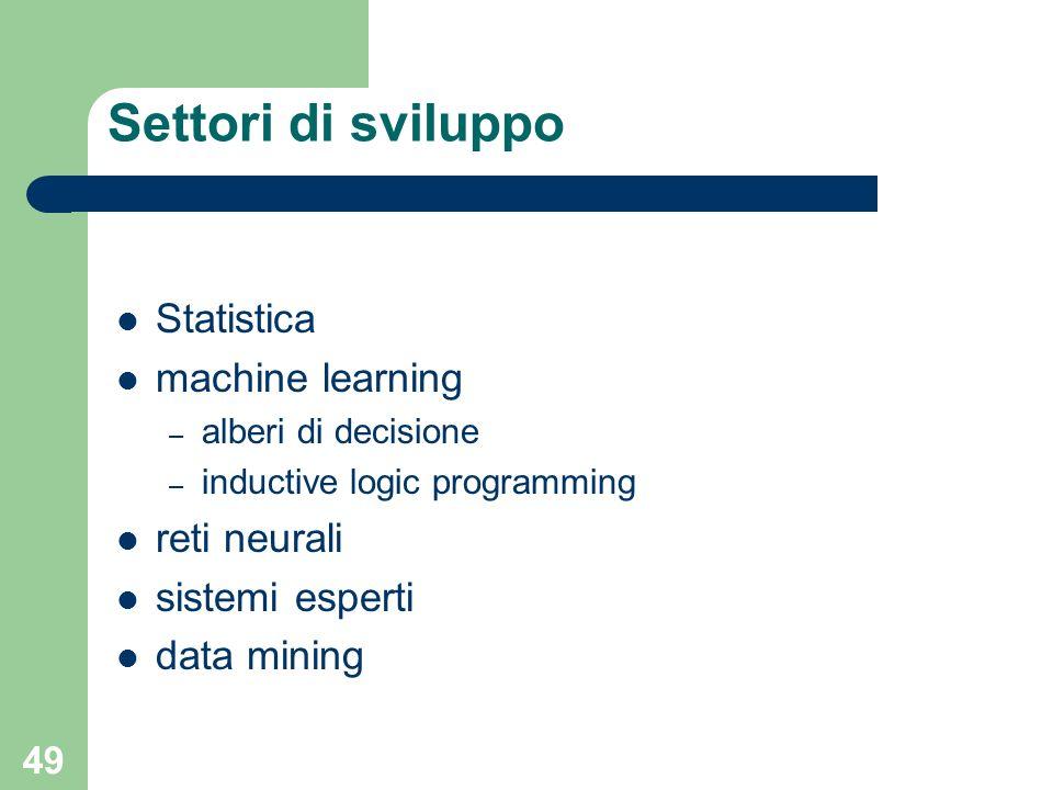 49 Settori di sviluppo Statistica machine learning – alberi di decisione – inductive logic programming reti neurali sistemi esperti data mining