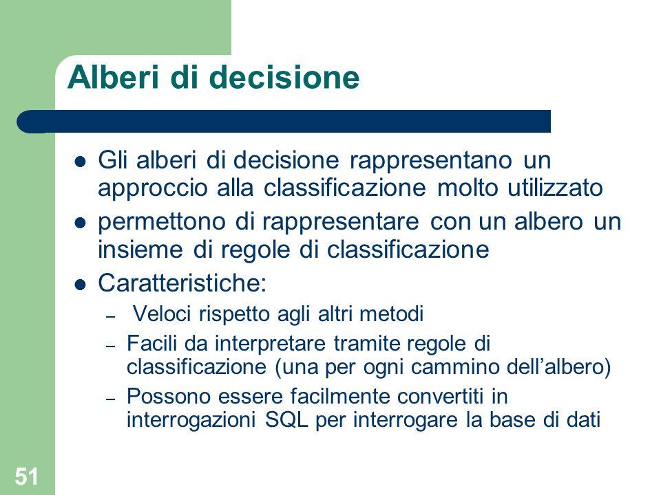 51 Alberi di decisione Gli alberi di decisione rappresentano un approccio alla classificazione molto utilizzato permettono di rappresentare con un alb