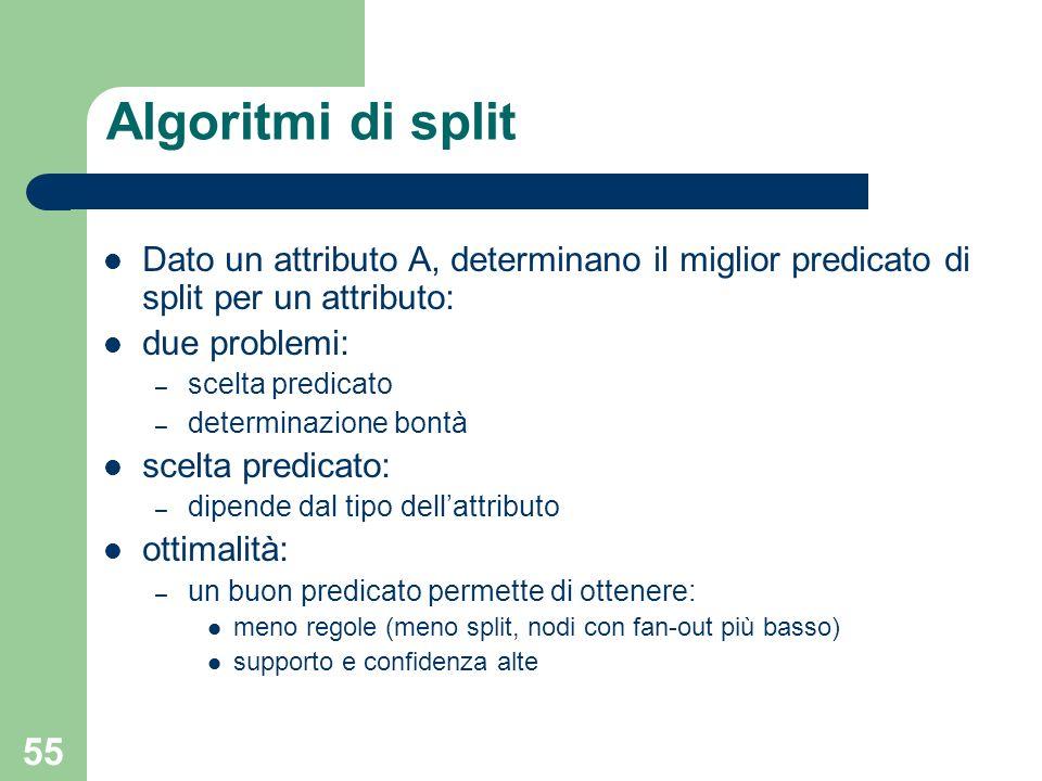 55 Algoritmi di split Dato un attributo A, determinano il miglior predicato di split per un attributo: due problemi: – scelta predicato – determinazio