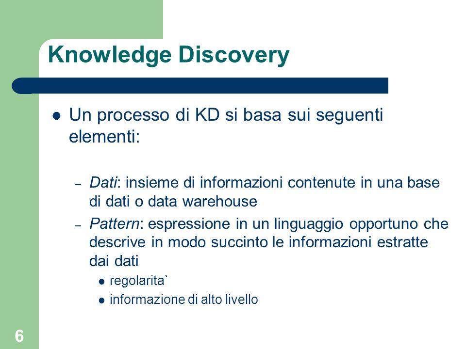 6 Knowledge Discovery Un processo di KD si basa sui seguenti elementi: – Dati: insieme di informazioni contenute in una base di dati o data warehouse