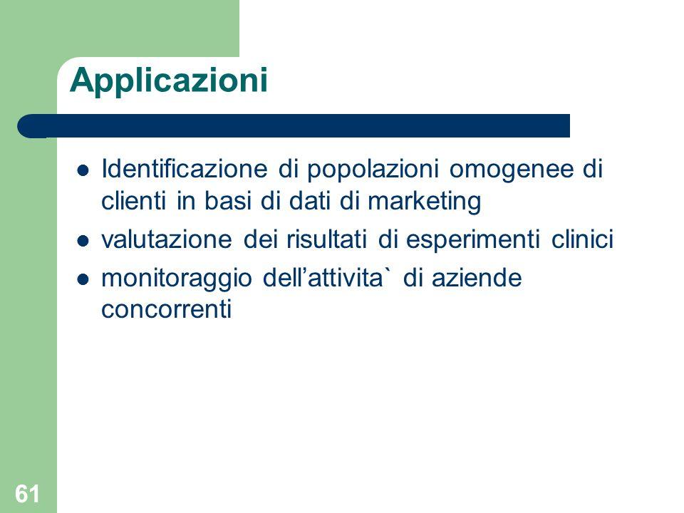 61 Applicazioni Identificazione di popolazioni omogenee di clienti in basi di dati di marketing valutazione dei risultati di esperimenti clinici monit