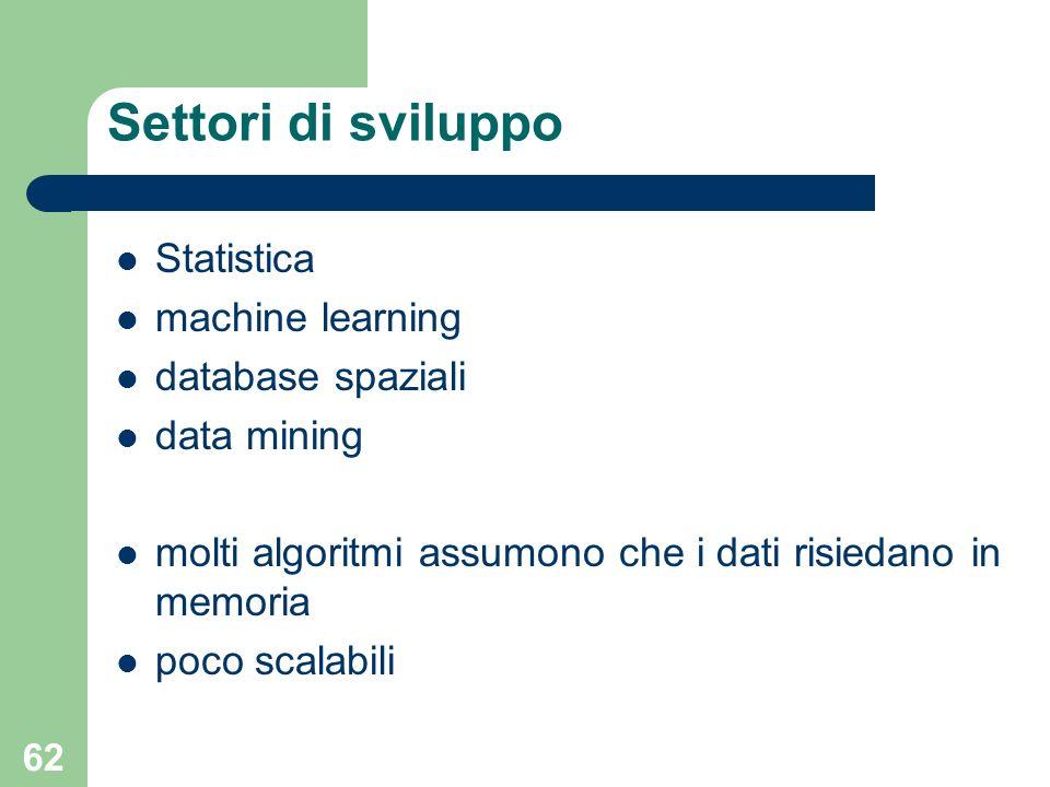 62 Settori di sviluppo Statistica machine learning database spaziali data mining molti algoritmi assumono che i dati risiedano in memoria poco scalabi