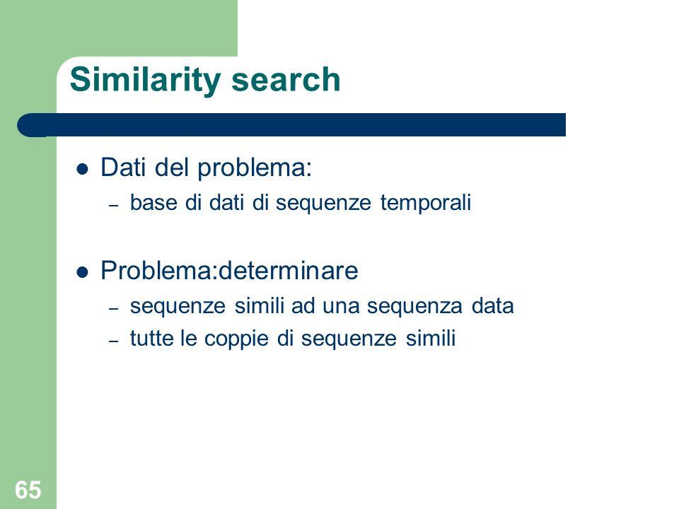 65 Similarity search Dati del problema: – base di dati di sequenze temporali Problema:determinare – sequenze simili ad una sequenza data – tutte le co