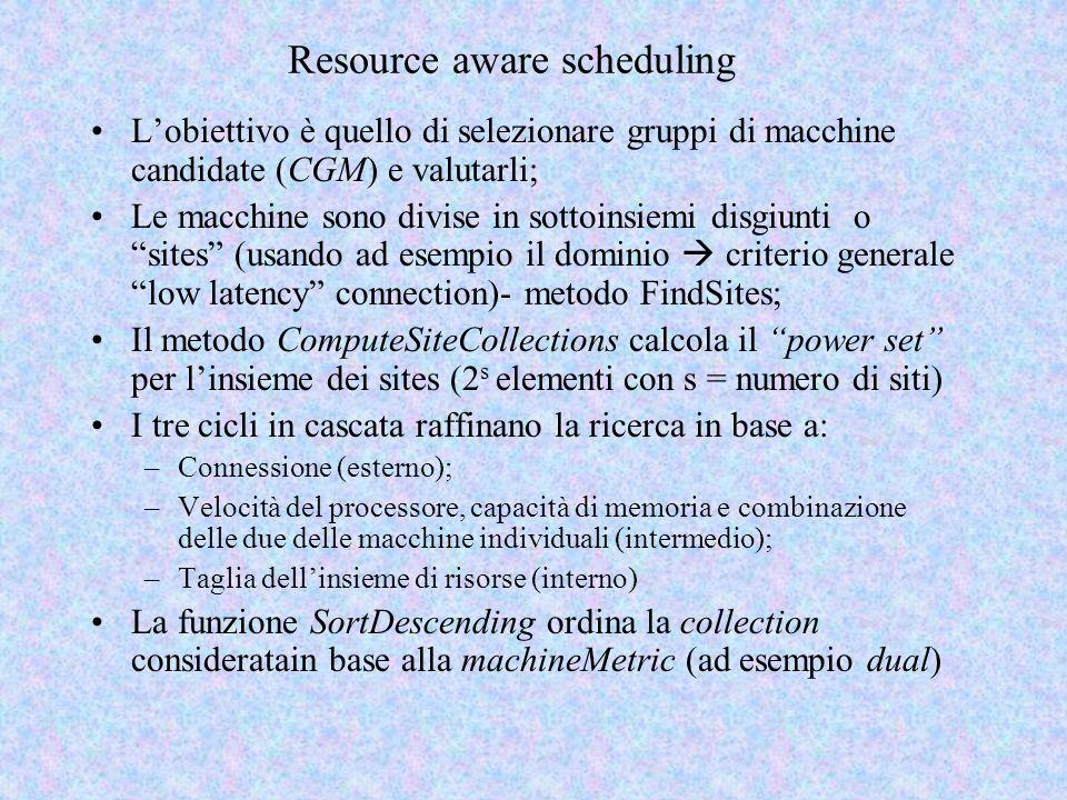 Resource aware scheduling Lobiettivo è quello di selezionare gruppi di macchine candidate (CGM) e valutarli; Le macchine sono divise in sottoinsiemi disgiunti o sites (usando ad esempio il dominio criterio generale low latency connection)- metodo FindSites; Il metodo ComputeSiteCollections calcola il power set per linsieme dei sites (2 s elementi con s = numero di siti) I tre cicli in cascata raffinano la ricerca in base a: –Connessione (esterno); –Velocità del processore, capacità di memoria e combinazione delle due delle macchine individuali (intermedio); –Taglia dellinsieme di risorse (interno) La funzione SortDescending ordina la collection consideratain base alla machineMetric (ad esempio dual)