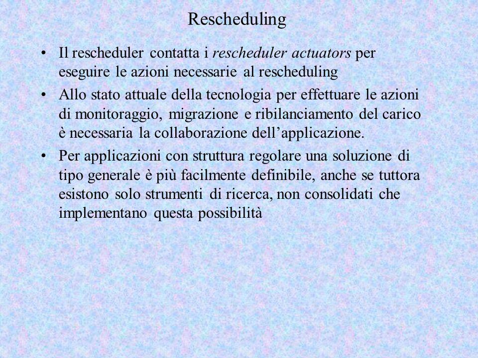 Rescheduling Il rescheduler contatta i rescheduler actuators per eseguire le azioni necessarie al rescheduling Allo stato attuale della tecnologia per effettuare le azioni di monitoraggio, migrazione e ribilanciamento del carico è necessaria la collaborazione dellapplicazione.
