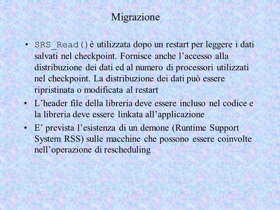 Migrazione SRS_Read() è utilizzata dopo un restart per leggere i dati salvati nel checkpoint. Fornisce anche laccesso alla distribuzione dei dati ed a