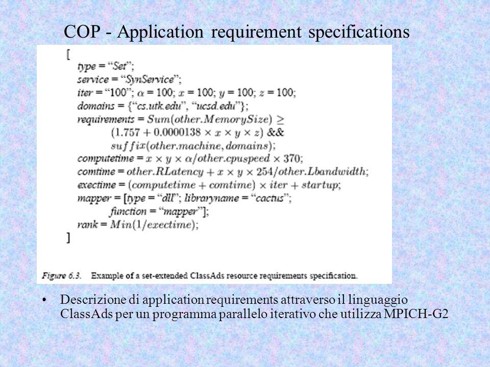 COP - Application requirement specifications Descrizione di application requirements attraverso il linguaggio ClassAds per un programma parallelo iterativo che utilizza MPICH-G2