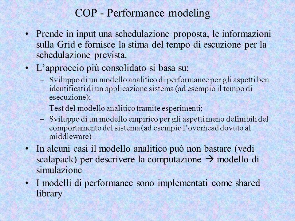 COP - Performance modeling Prende in input una schedulazione proposta, le informazioni sulla Grid e fornisce la stima del tempo di escuzione per la schedulazione prevista.
