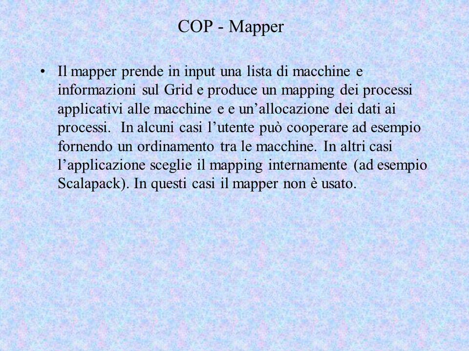 COP - Mapper Il mapper prende in input una lista di macchine e informazioni sul Grid e produce un mapping dei processi applicativi alle macchine e e unallocazione dei dati ai processi.