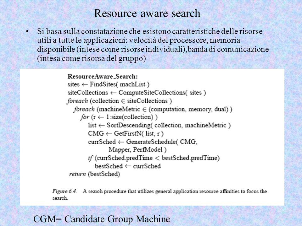 Resource aware search Si basa sulla constatazione che esistono caratteristiche delle risorse utili a tutte le applicazioni: velocità del processore, memoria disponibile (intese come risorse individuali),banda di comunicazione (intesa come risorsa del gruppo) CGM= Candidate Group Machine