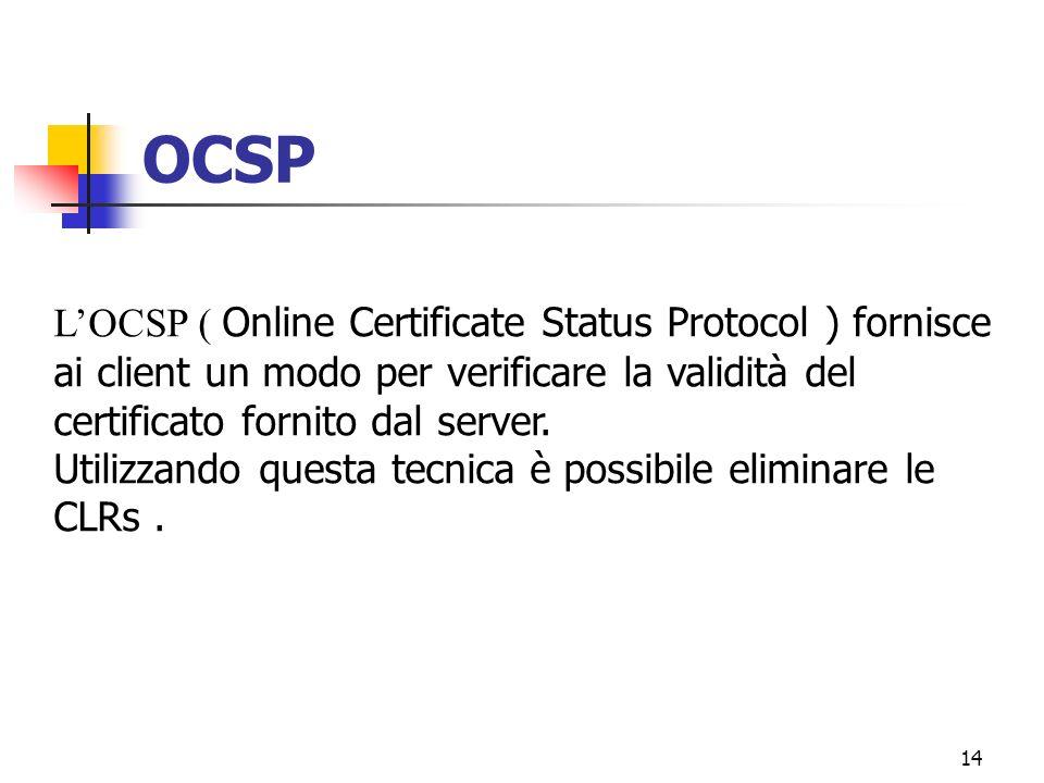 14 OCSP LOCSP ( Online Certificate Status Protocol ) fornisce ai client un modo per verificare la validità del certificato fornito dal server. Utilizz