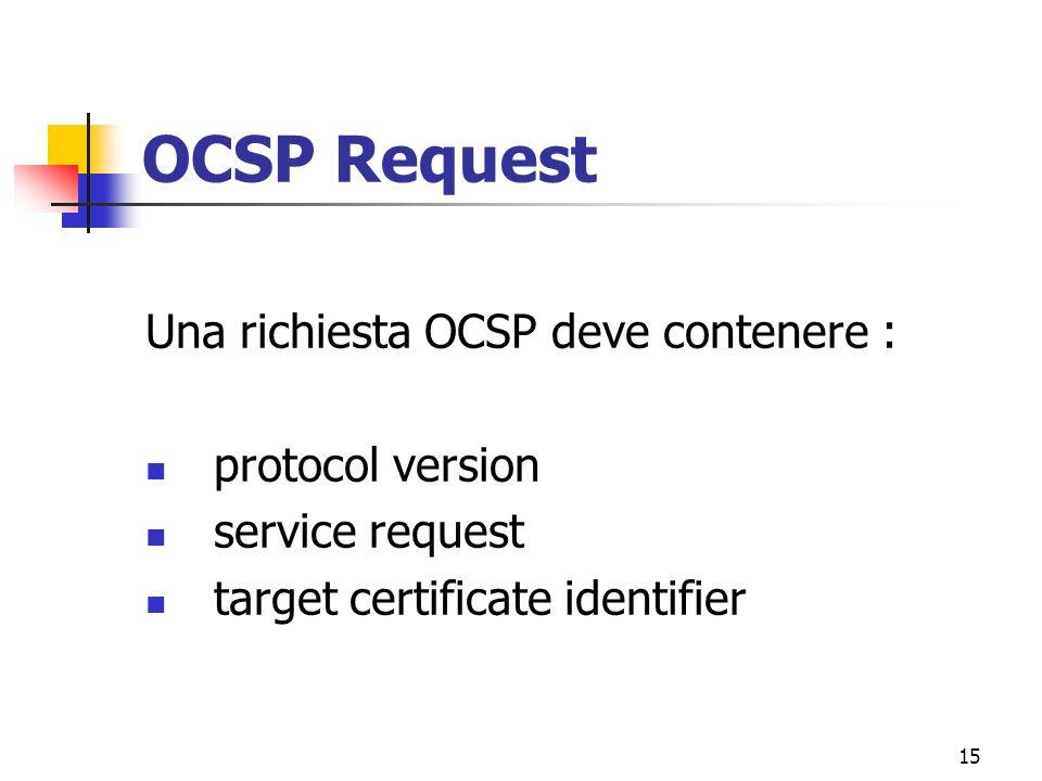 15 OCSP Request Una richiesta OCSP deve contenere : protocol version service request target certificate identifier
