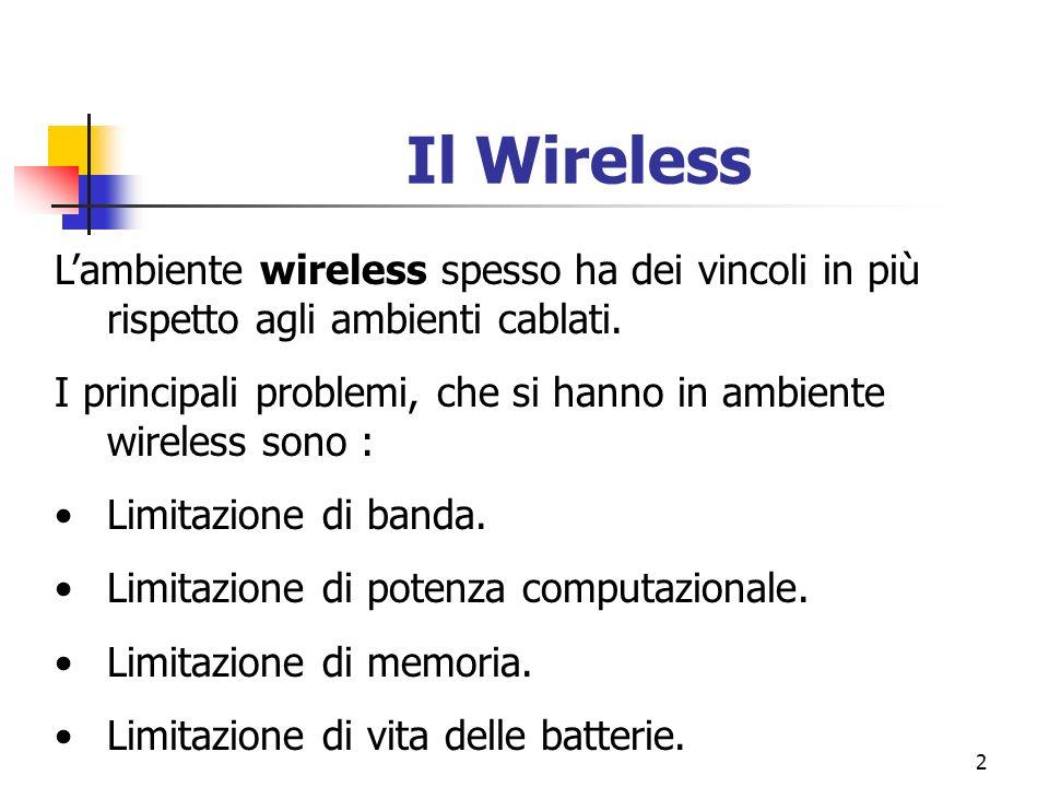 2 Il Wireless Lambiente wireless spesso ha dei vincoli in più rispetto agli ambienti cablati. I principali problemi, che si hanno in ambiente wireless