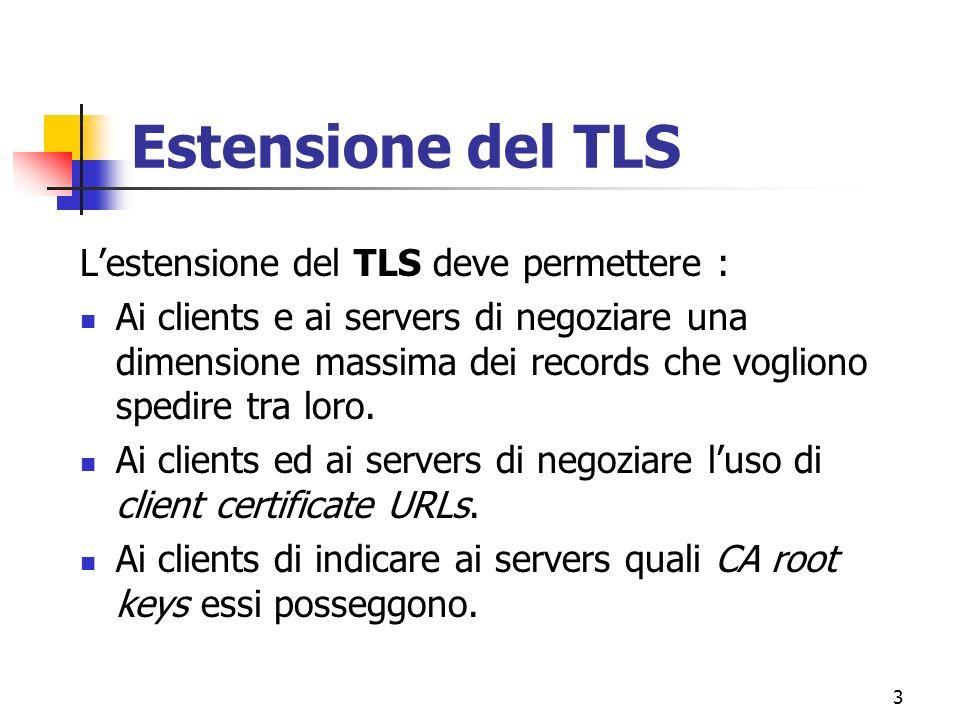 3 Estensione del TLS Lestensione del TLS deve permettere : Ai clients e ai servers di negoziare una dimensione massima dei records che vogliono spedire tra loro.