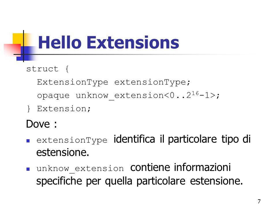 7 Hello Extensions struct { ExtensionType extensionType; opaque unknow_extension ; } Extension; Dove : extensionType identifica il particolare tipo di estensione.