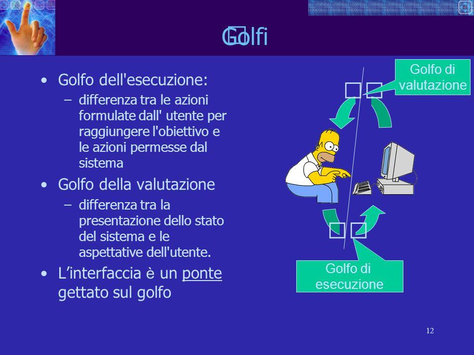 12 Golfo dell'esecuzione: –differenza tra le azioni formulate dall' utente per raggiungere l'obiettivo e le azioni permesse dal sistema Golfo della va