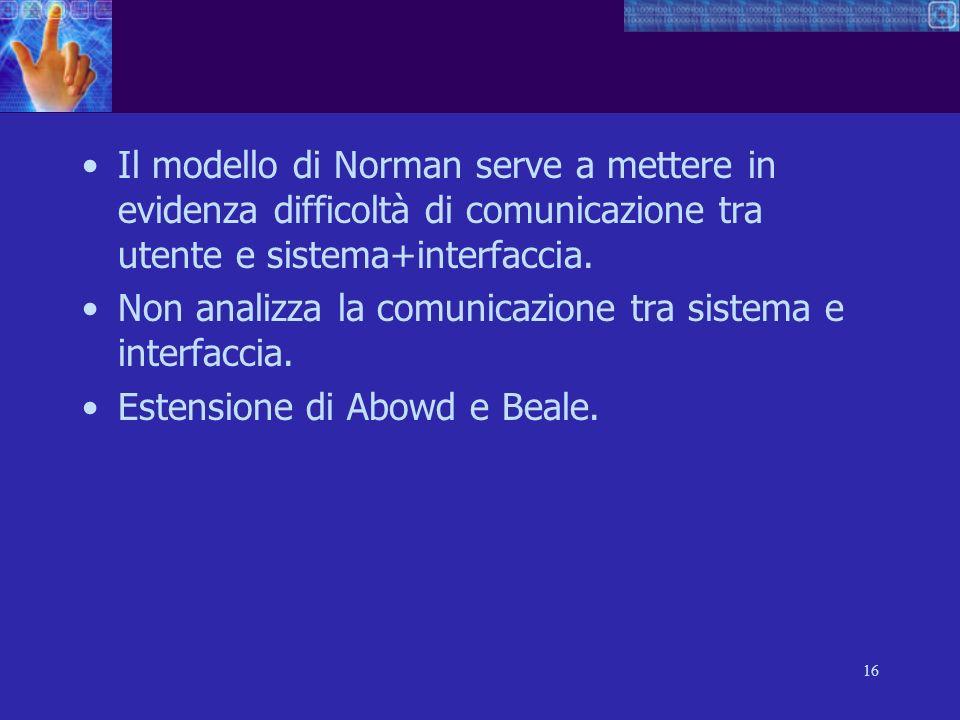 16 Il modello di Norman serve a mettere in evidenza difficoltà di comunicazione tra utente e sistema+interfaccia. Non analizza la comunicazione tra si
