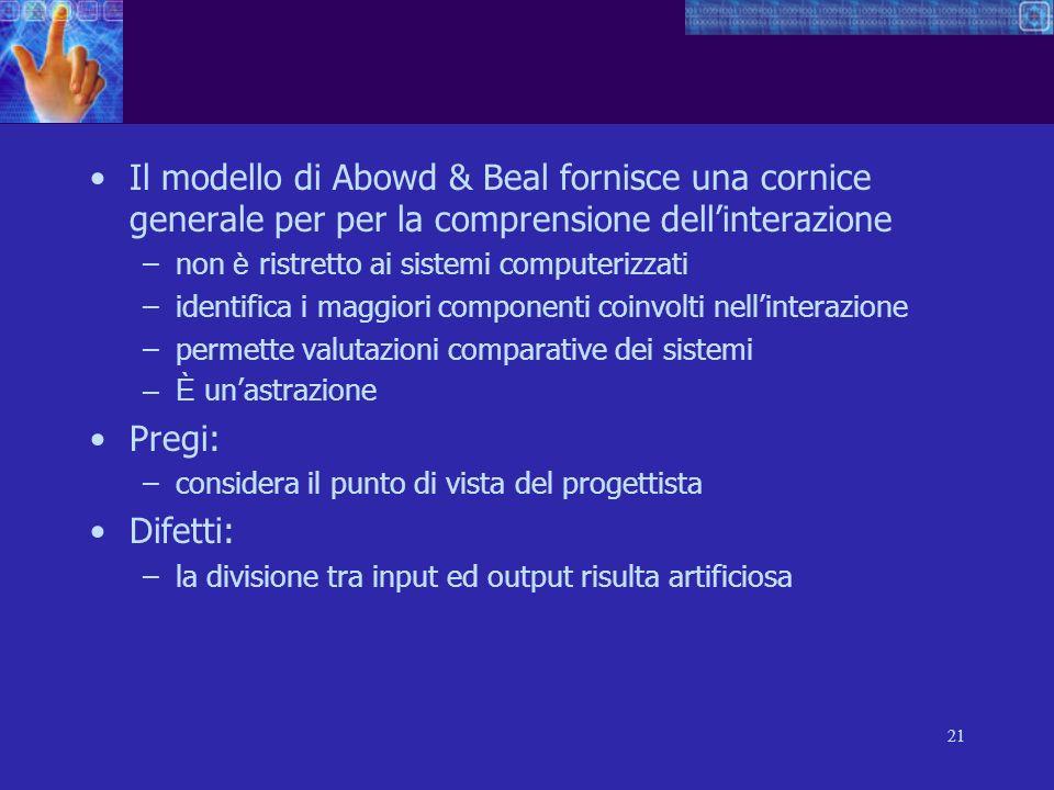 21 Il modello di Abowd & Beal fornisce una cornice generale per per la comprensione dellinterazione –non è ristretto ai sistemi computerizzati –identi