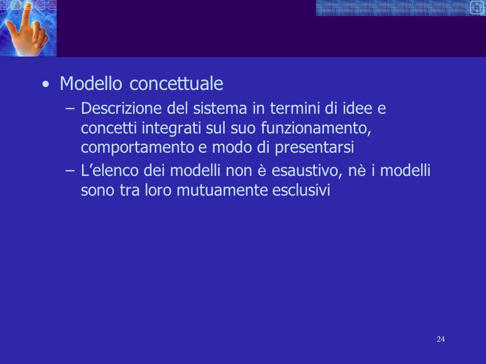 24 Modello concettuale –Descrizione del sistema in termini di idee e concetti integrati sul suo funzionamento, comportamento e modo di presentarsi –Le