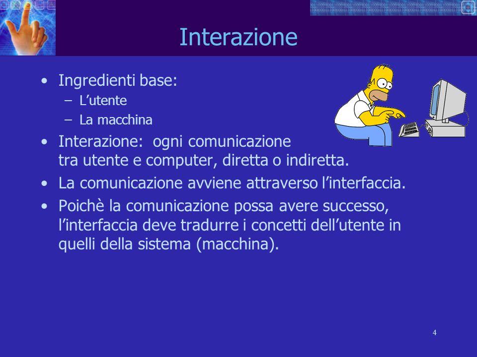 4 Interazione Ingredienti base: –Lutente –La macchina Interazione: ogni comunicazione tra utente e computer, diretta o indiretta. La comunicazione avv