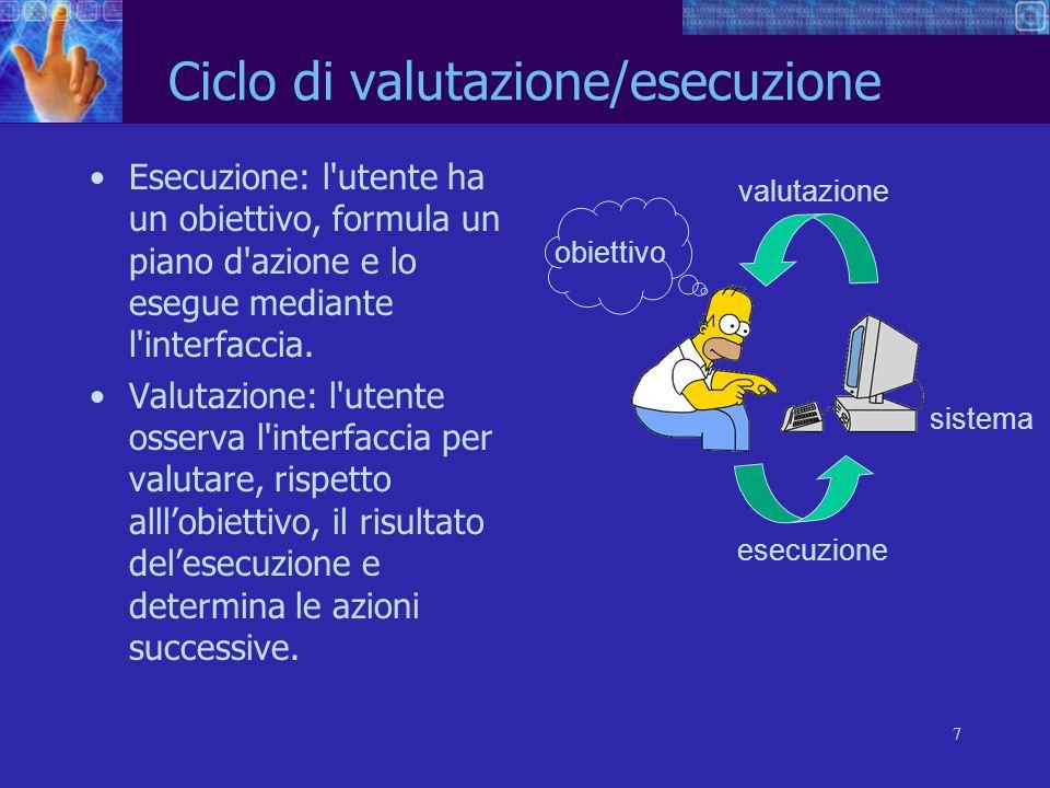 7 sistema esecuzione valutazione obiettivo Ciclo di valutazione/esecuzione Esecuzione: l'utente ha un obiettivo, formula un piano d'azione e lo esegue