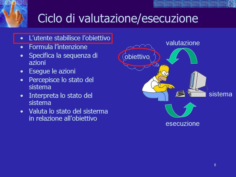 8 Ciclo di valutazione/esecuzione Lutente stabilisce lobiettivo Formula lintenzione Specifica la sequenza di azioni Esegue le azioni Percepisce lo sta