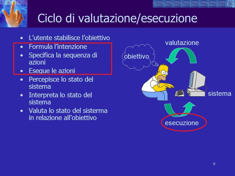 9 Ciclo di valutazione/esecuzione Lutente stabilisce lobiettivo Formula lintenzione Specifica la sequenza di azioni Esegue le azioni Percepisce lo sta
